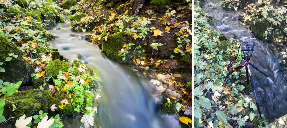 Fotka potůčku mezi mechem a vpravo dokumentární záběr se stativem stojícím ve vodě. Canon 5D Mark III, EF Canon 16–35 mm F2,8 II USM, 15 s, F22, ISO 100, ohnisko 16 mm.