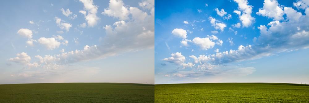Před úpravou a po ní. Kromě zvýšení sytosti a ostrosti v mracích byl použit softwarový přechodový filtr – ztmavení oblohy, aby se dostala světlostí na úroveň trávy. Canon 5D Mark II, EF Canon 16–35 mm F2,8 II USM, 1/100 s, F7,1, ISO 100, ohnisko 26 mm.