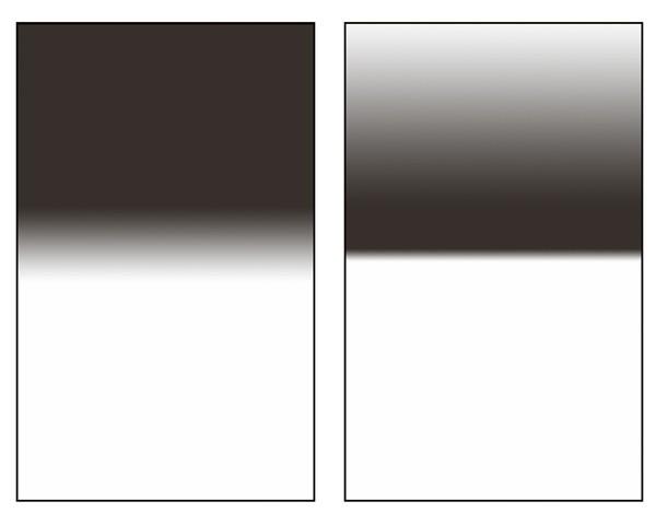 Srovnání přechodového a reverzního přechodového filtru. Obrázek je jen ilustrační, každý výrobce vyrábí lehce odlišné typy přechodů.