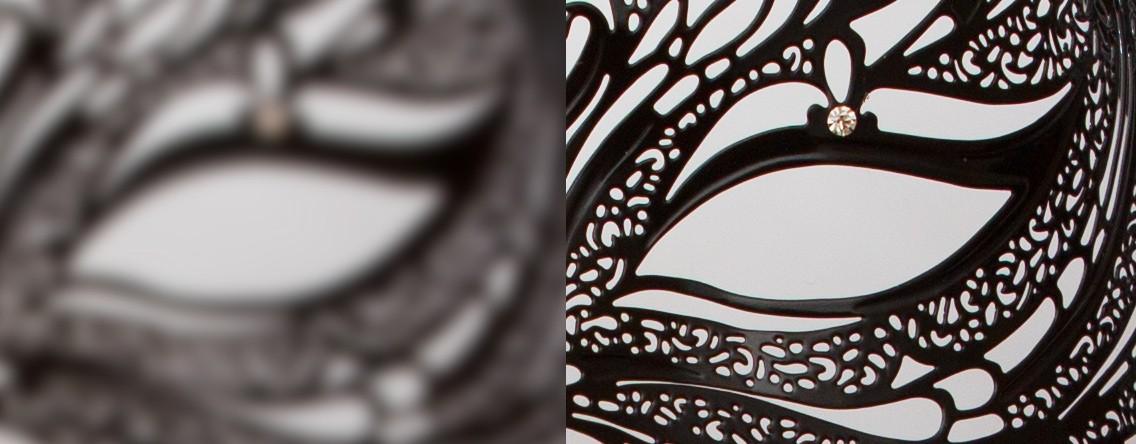 Nízký kontrast na hranách (vlevo) při nezaostřeném obrazu. Vpravo vysoký kontrast po zaostření.