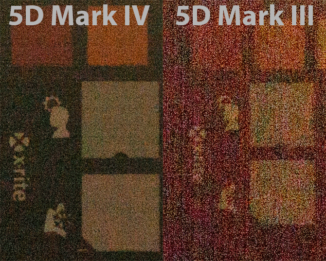 Comparison of noise after pushing originally dark ISO 100 photograph by about +5 EV in Lightroom.