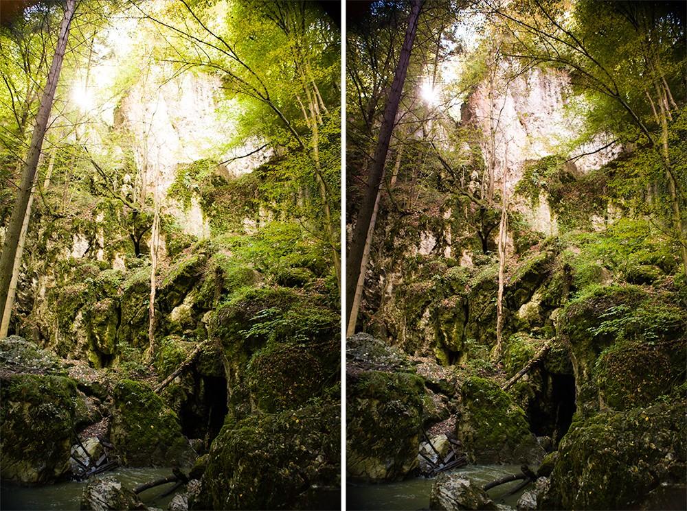 Scéna focená běžně a pak s pomocí obdélníkového filtru pro ztmavení horní části. Canon 5D Mark II, Canon EF 24-70/2,8, 1/50 s vlevo a 1/30 s vpravo, F3,2, ISO 800, ohnisko 70 mm