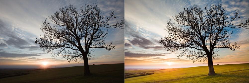 Fotografie stromu z fotoaparátu a po úpravě. Canon 5D Mark II, Canon EF 16-35/2,8 II, 1/100 s, f/9, ISO 100, ohnisko 16 mm