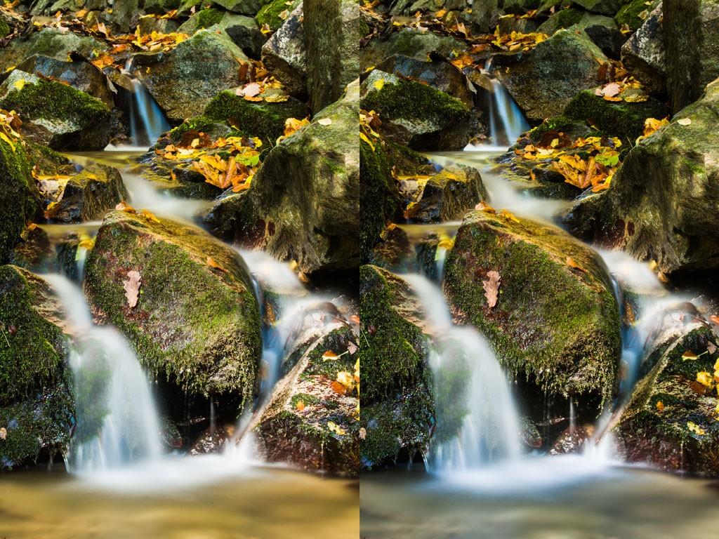 Levá originální fotografie byla selektivně ztmavena, aby vynikla voda. Canon 5D Mark III, Canon EF 70-200/2.8 II, 30 s, f/20, ISO 100, ohnisko 88 mm