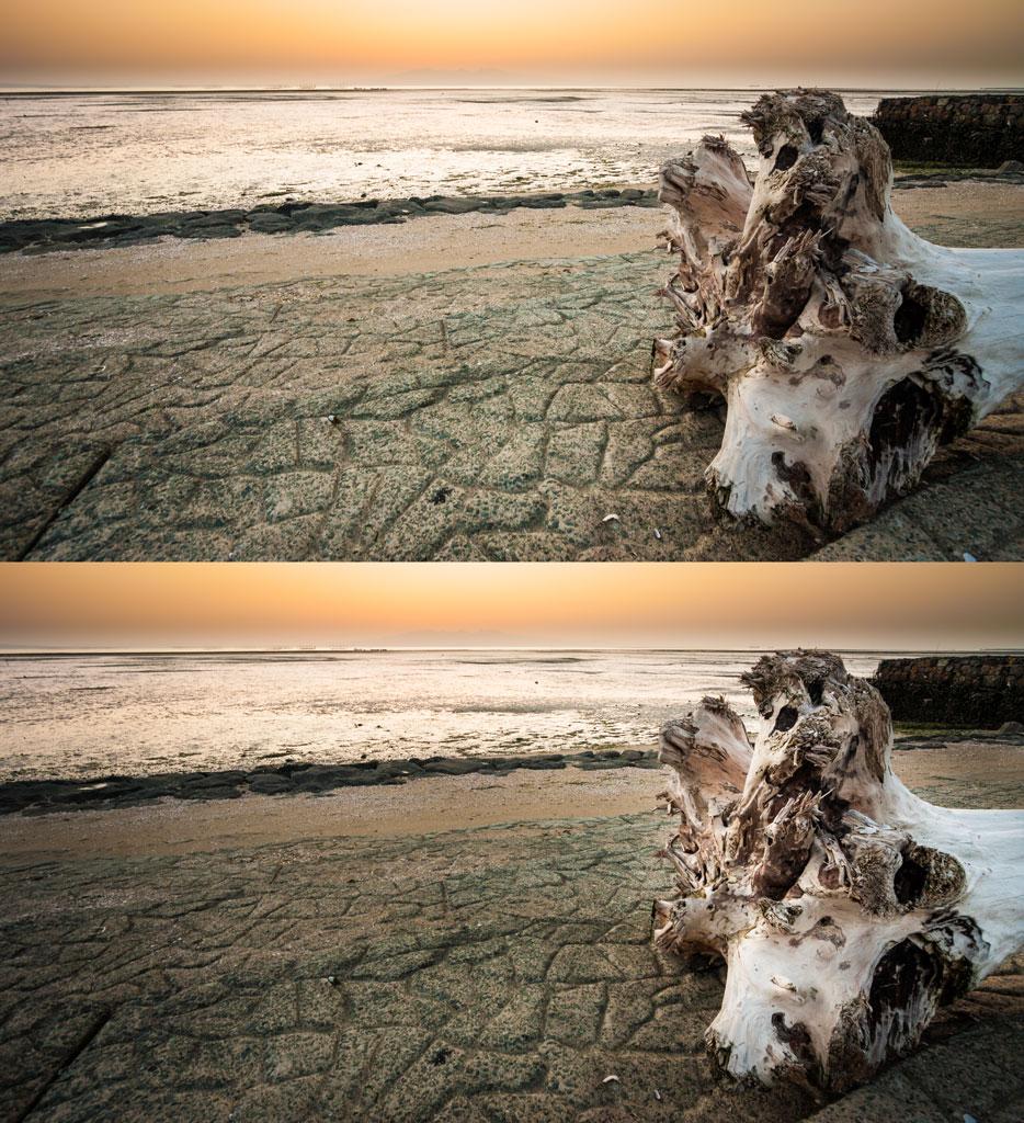 Oproti originálu (vlevo) byl vpravo ztmaven písek a zesvětlen světlý kmen stromu. Canon 40D, Canon EF-S 10-22/3.5-4.5, 1/13 s, f/5,6, ISO 200, ohnisko 10 mm