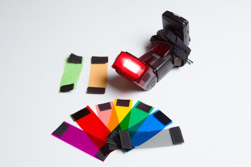 Vybrané filtry, nahoře Window Green a CTO gel.
