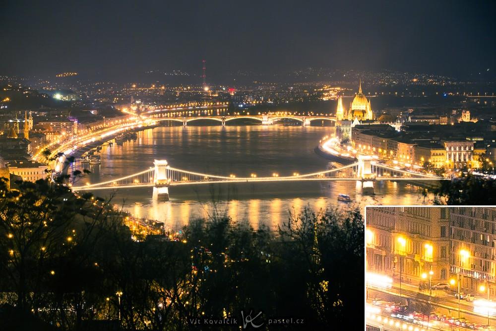 Noční Budapešť zachycená fotoaparátem na stativu. Vpravo dole detail v zobrazení 1:1 pro ukázku ostrosti. Silný šum je zde kvůli výraznému zpracování na PC a zesvětlení stínů. Canon 5D Mark III, Canon EF 70-200/2.8 IS II, 1,6 s, F5,6, ISO 200, ohnisko 90 mm