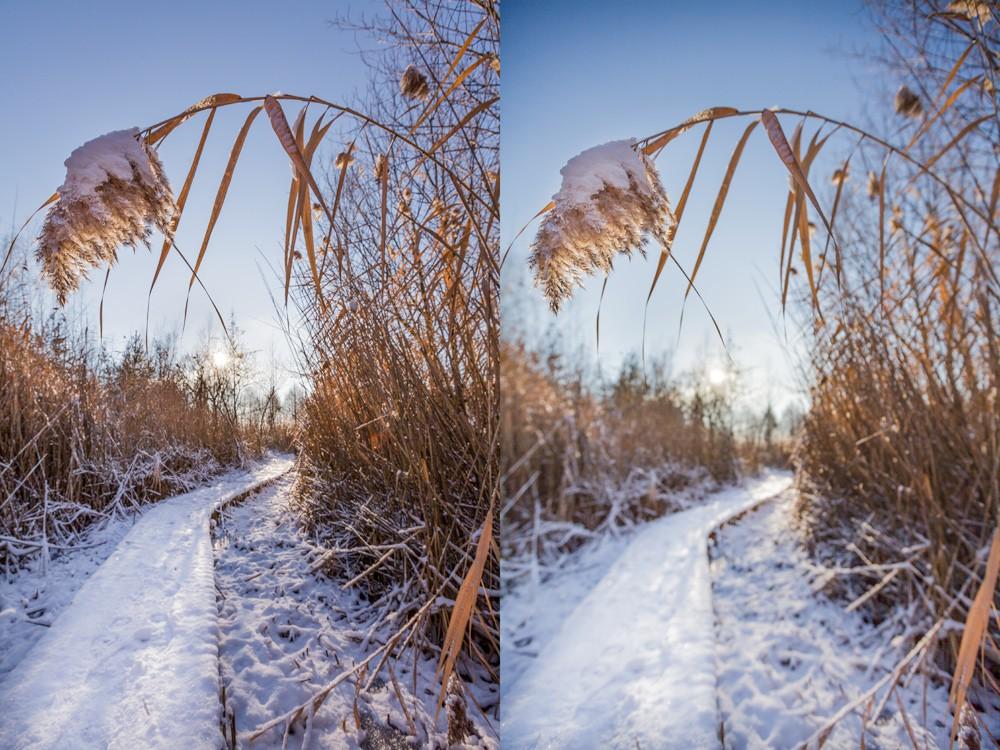 Vlevo byla použita clona F9, vpravo F2,8. Oba snímky jsou vyrovnané, výběr konkrétního by v tomto případě záležel na finálním použití. Canon 5D Mark II, Canon EF 16–35 mm F2,8 II USM, ohnisko 16 mm.