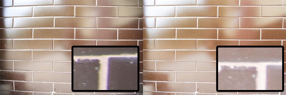 JPEG vlevo a RAW s automatickými korekcemi vpravo. V detailu vždy výřez z pravého dolního rohu.