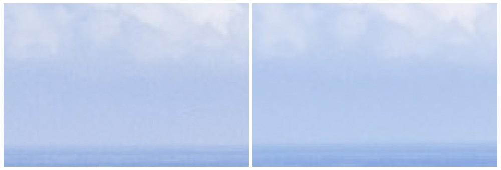 Výřezy z obou fotek zvětšené na 300 %, rozdíl je patrný.