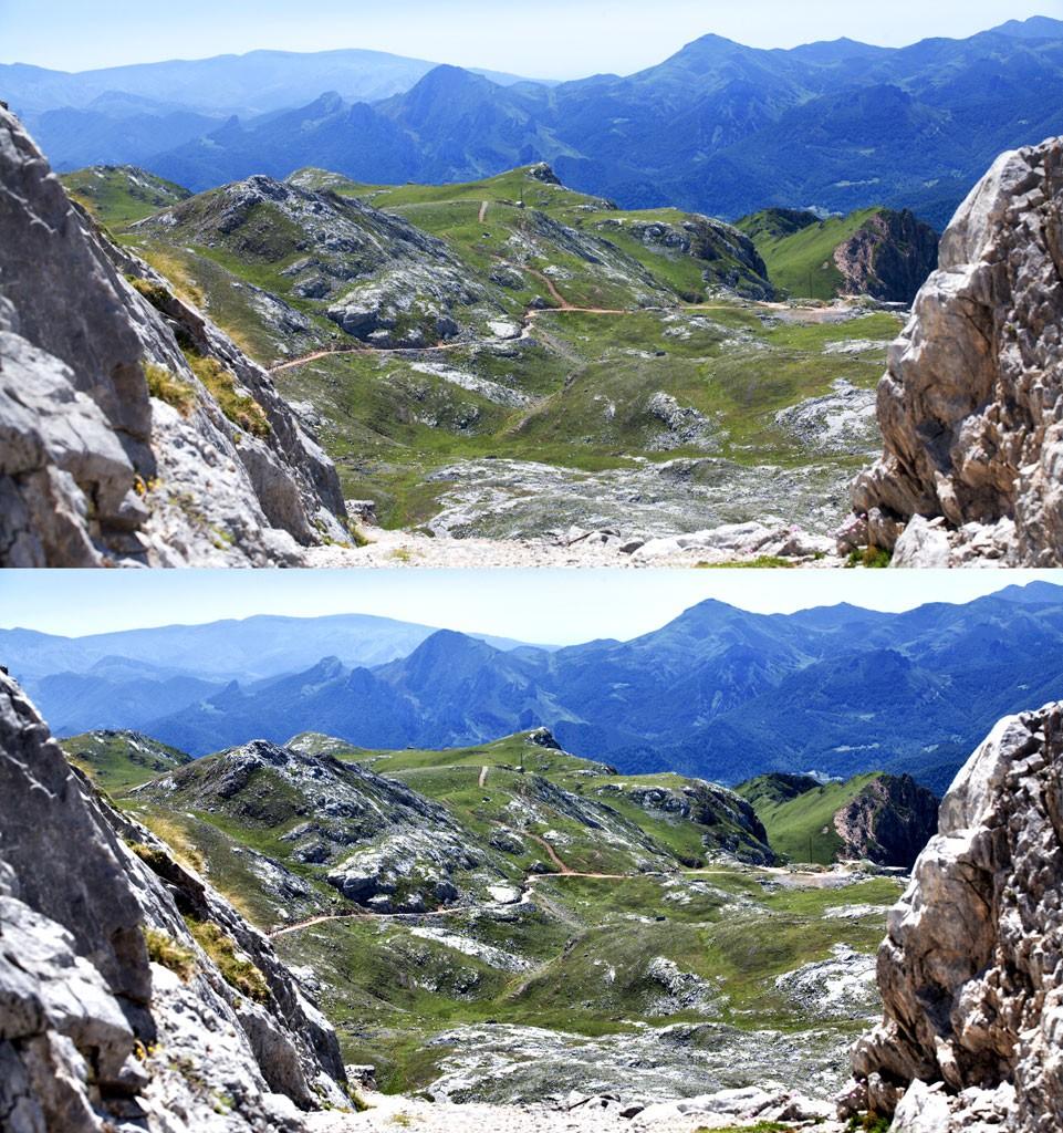 Ukázka, jak původní obrázek (nahoře) získá po doostření více definovaný výraz. Canon 5D Mark II, Canon EF 70-200/2.8 II, 1/80 s, f/11, ISO 500, ohnisko 100 mm