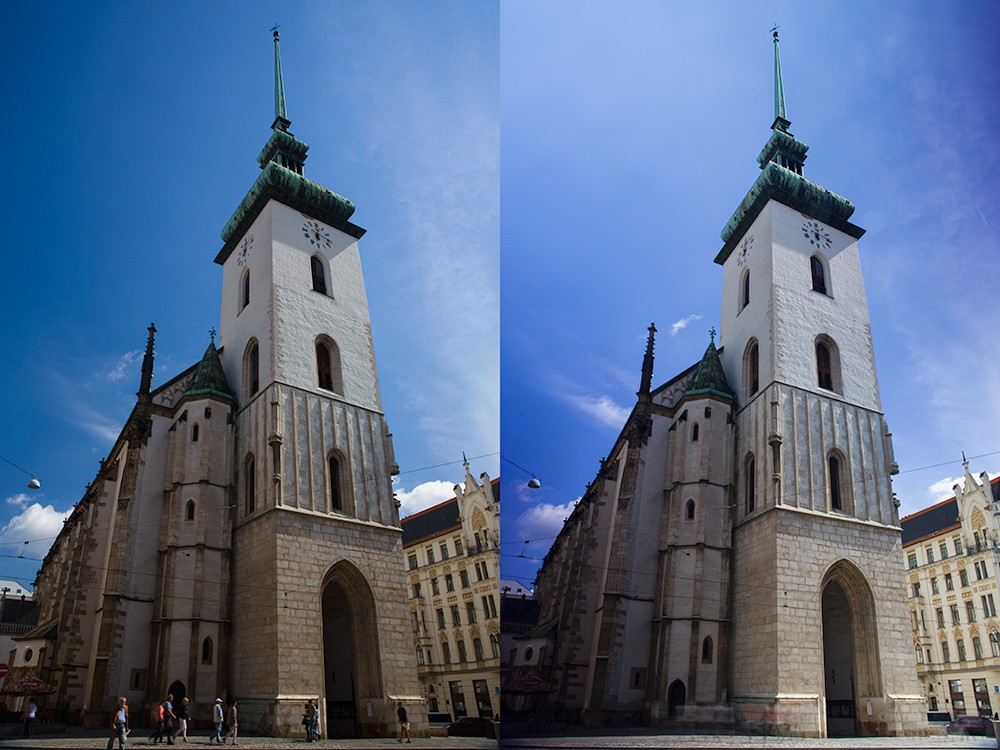 Kostel s jedním polarizačním filtrem (vlevo) a dvěma (vpravo), kdy byly procházející lidé silně rozmazáni už při expozici 2 sekundy. Canon 5D Mark III, Canon EF 24-70/2.8, 1/20 s vlevo a 2 s vpravo, F16, ISO 100, ohnisko 25 mm