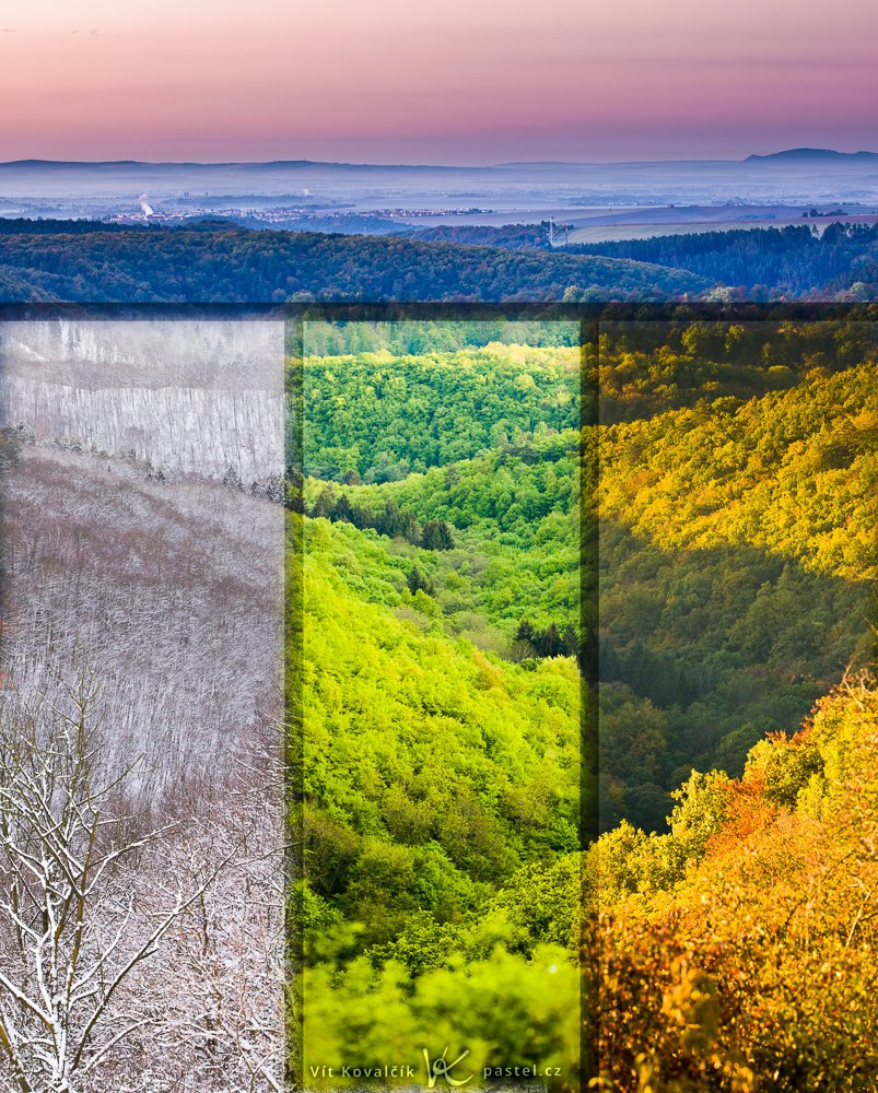 """Obrázek krajiny spojený z různých období tak, aby na sebe navazovaly. Bohužel rozdíly mezi nimi byly tak ostré, že je koláž hezčí s menší """"tranzitní"""" oblastmi."""
