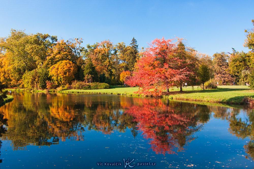 Podzimní scéna, ze které pramení klid právě díky odrazu a středové kompozici. Canon 40D, Canon EF-S 10–22/3,5–4,5, 1/60 s, F8, ISO 200, ohnisko 19 mm