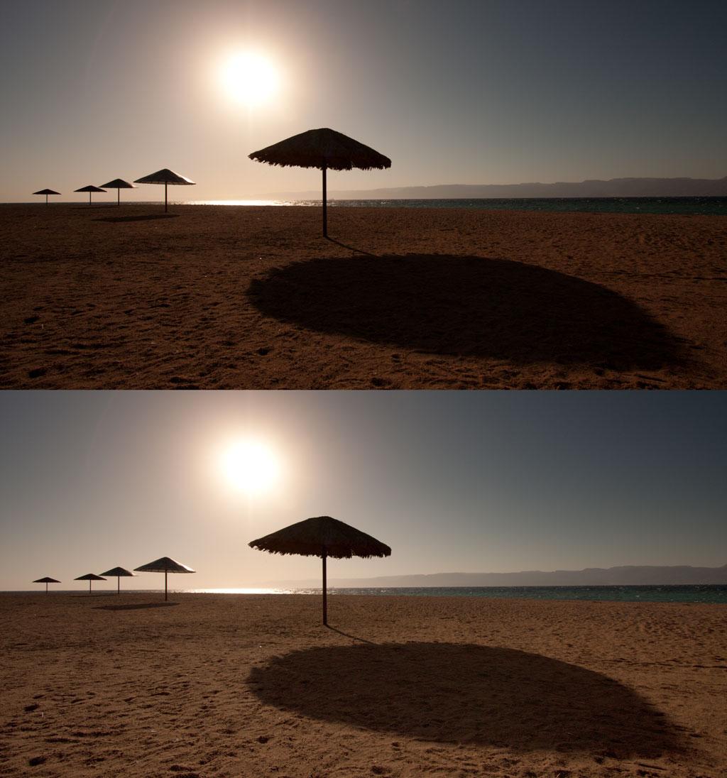 Před aplikací přechodového filtru (nahoře) a po ní (dole).