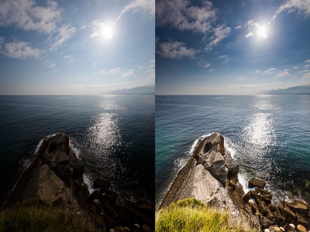 Vlevo před úpravami, vpravo po nich. Canon 5D Mark II, Canon EF 16-35/2.8 II, 1/400 s, f/7.1, ISO 100, ohnisko 16 mm