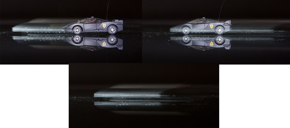 """Ukázka synchronizace na přední a zadní lamelu. Auto se vždy pohybovalo dopředu a expozice byla 1/4 sekundy. Pokud se výboj blesku načasuje na začátek snímku (vlevo), je před autem nepěkný duch. Abychom ho dostali """"správně"""" za auto je potřeba zapnout synchronizaci na druhou lamelu (vpravo). Pro srovnání dole záběr zcela bez blesku. Canon 5D Mark III, Canon EF 24-70/2.8, 0,25 s, F5,6, ISO 800, ohnisko 42 mm"""