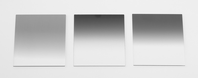 Tři přechodové filtry s různou tmavostí a typem přechodu.