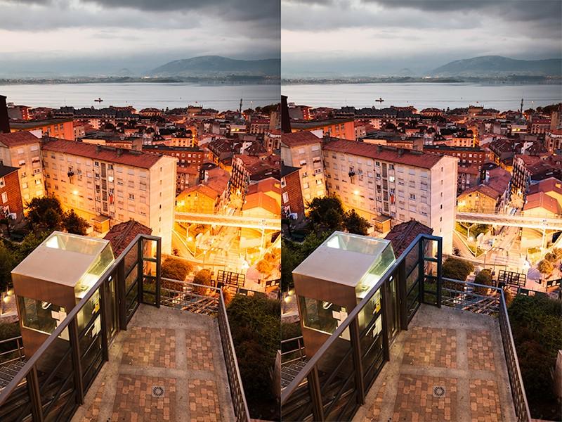 Ulice ve městě Santander s okolím. Vpravo scéna po lokální úpravě silně osvětlených míst. Canon 5D Mark II, Canon EF 16-35/2.8 II, 1/5 s, F4, ISO 800, ohnisko 29 mm