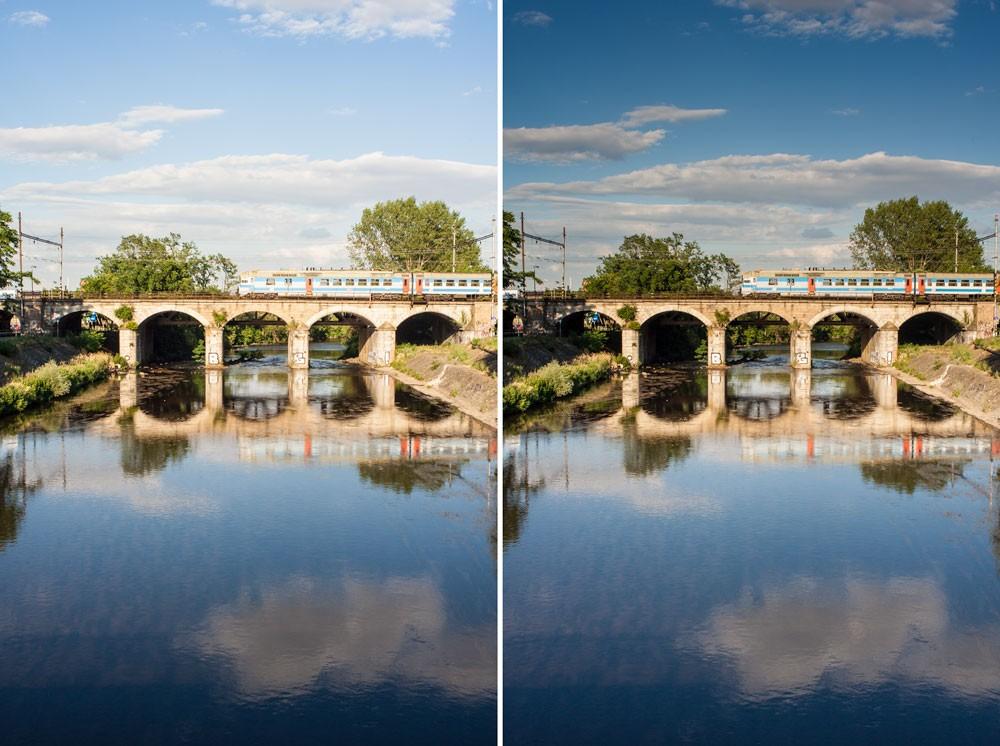 Původně nestejnoměrná obloha a hladina (vlevo) byly úpravami sjednoceny pro větší efekt. Canon 350D, Macro-Revuenon 24/4, 1/200 s, asi F8, ISO 100, ohnisko 24 mm