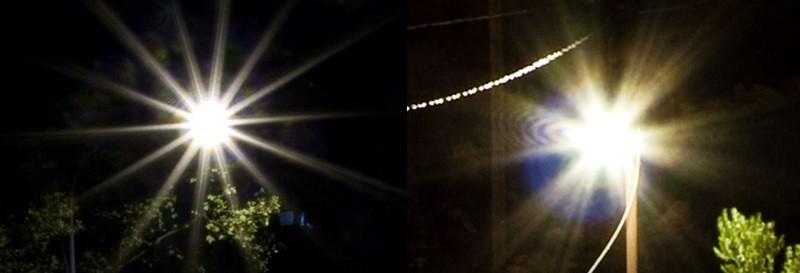 Různý tvar hvězdiček kolem světelných zdrojů. Vlevo objektiv Sigma 18-50/2.8 (7 lamel), vpravo Canon EF-S 10-22/3,5-4,5 (6 lamel).