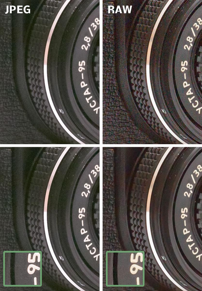 Výsledek zesvětlení v JPEG vlevo a v RAW vpravo.